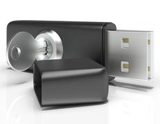 Stock Illustration of usb flash and key shows secure portable storage