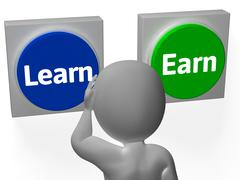 Learn earn buttons show career or training Stock Illustration