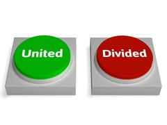 United divided buttons show unite or divide Stock Illustration