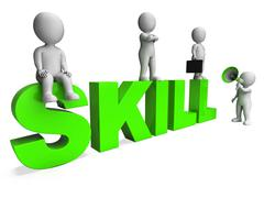 Skill characters shows expertise skilled and competence Stock Illustration