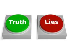 truth lies buttons show true or liar - stock illustration