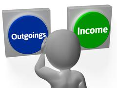 outgoings income buttons show budgeting or bookkeeping - stock illustration