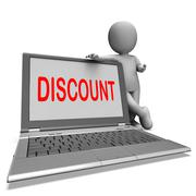 Stock Illustration of discount laptop shows promotional sale discount or clearance