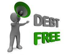 Debt free character means financial freedom credit or no liability Stock Illustration