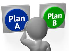 plan a b buttons show alternative or backup - stock illustration