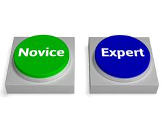 Stock Illustration of novice expert buttons shows beginner and expertise