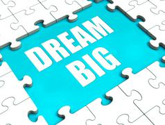 dream big puzzle shows hope desire and huge ambition - stock illustration