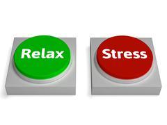 Rentoutua stressi painikkeita näyttää rento tai stressaantunut Piirros