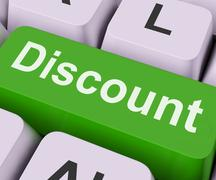 Discount key means cut price or reduce. Stock Illustration