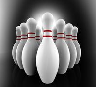 bowling pins show skittles alley - stock illustration