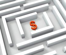dollar currency in maze shows dollars credit - stock illustration