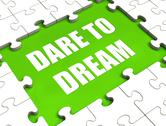Dare to dream puzzle shows dreaming hope and imagination Stock Illustration