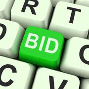 Stock Illustration of bid key shows online auction or bidding
