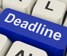 deadline key means target time or finish date. - stock illustration