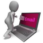 email on laptop shows e-mail mailing or correspondence - stock illustration
