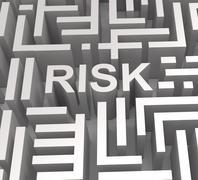 risky maze shows dangerous or risk - stock illustration