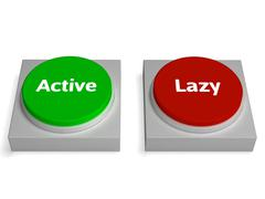 active lazy buttons shows action or inaction - stock illustration