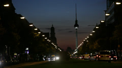 Traffic at night in Berlin - stock footage