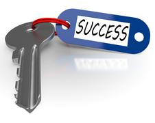 Stock Illustration of key with success word shows winning