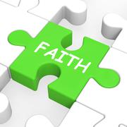 Stock Illustration of faith jigsaw showing spiritual belief or trust