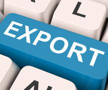 Stock Illustration of export key means sell abroad or trade.