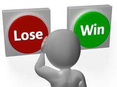 lose win buttons show wager or loser - stock illustration