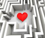 Stock Illustration of finding love or girlfriend shows heart in maze