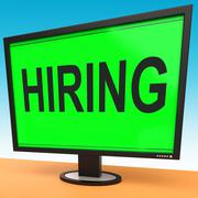 Hiring computer message shows online hire jobs Stock Illustration