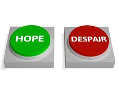 hope despair buttons show hopelessness or hopeful - stock illustration