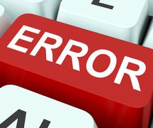 error key shows mistake fault or defects - stock illustration