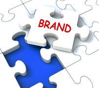 Brändi palapeli osoittaa tuotemerkin kehittämisessä tavaramerkki tai tuotteen et Piirros