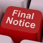 Final notice key shows last reminder online Stock Illustration