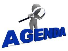 Agenda merkki tarkoittaa aikataulu ohjelma tai kaava Piirros