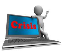 Crisis laptop means calamity troubles or critical situation Stock Illustration