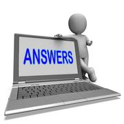 Stock Illustration of answers laptop shows faq assistance and help online