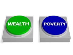 Wealth poverty buttons shows wealthy or penniless Stock Illustration