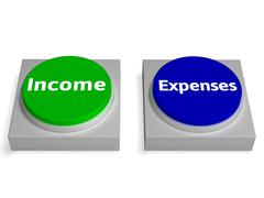 income expenses buttons shows profit and accounting - stock illustration