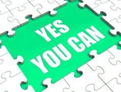 Yes you can puzzle shows inspiration motivation and achievement Stock Illustration