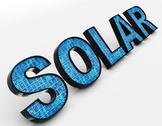 Stock Illustration of solar word shows alternative energy and sunlight
