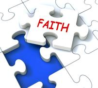Stock Illustration of faith jigsaw showing religious spiritual belief or trust