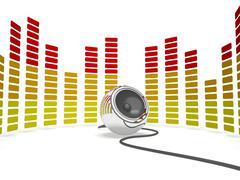 graphic equalizer and speaker shows music or musical audio - stock illustration