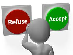 refuse accept buttons shows refusal or acceptance - stock illustration