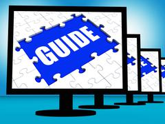 Stock Illustration of guide screen shows helping organizer or guidance
