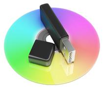 usb and dvd storage shows portable memory - stock illustration