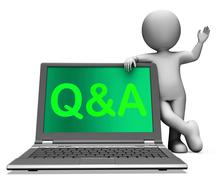 Q&a laptop shows question and answer online Stock Illustration