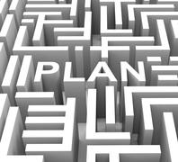 Stock Illustration of plan word shows guidance or business planning
