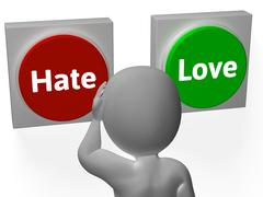 hate love buttons show attitude or hatred - stock illustration