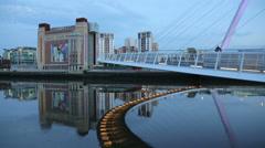 Gateshead millennium bridge and baltic mill, newcastle, england Stock Footage