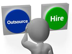 Outsource hire buttons show subcontracting or freelancing Stock Illustration