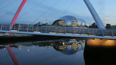 Gateshead millennium bridge and the sage at dusk, newcastle on tyne, england Stock Footage